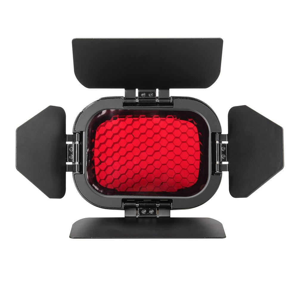 Godox BD-07 Barndoor with Detachable Honeycomb Grid and 4 Colour Gels for Witsro AD200