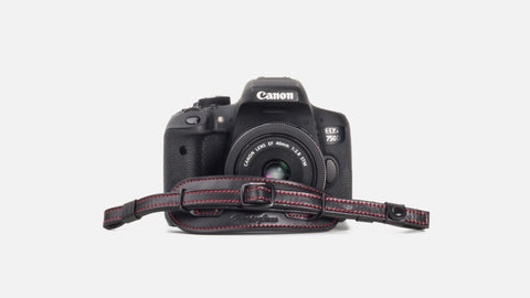 Herringbone Heritage DSLR Leather Camera Wrist Strap - Black/Red