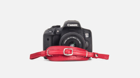 Herringbone Heritage DSLR Leather Camera Wrist Strap - Red