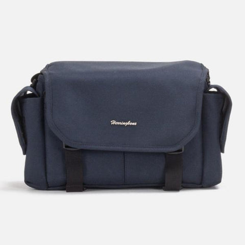 Herringbone Elephant Canvas Messenger Camera Bag - Small Navy