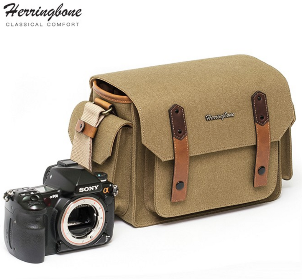 Herringbone PapasPocket Messenger Camera Bag - Medium Khaki