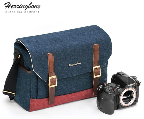 Herringbone Postman Messenger Camera Bag - Medium Navy Blue