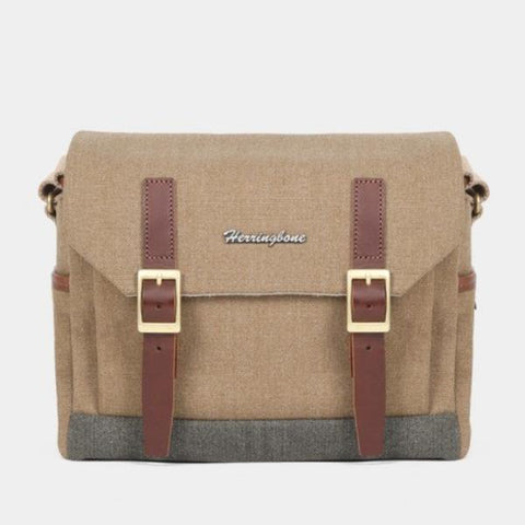 Herringbone Postman Messenger Camera Bag - Small Khaki