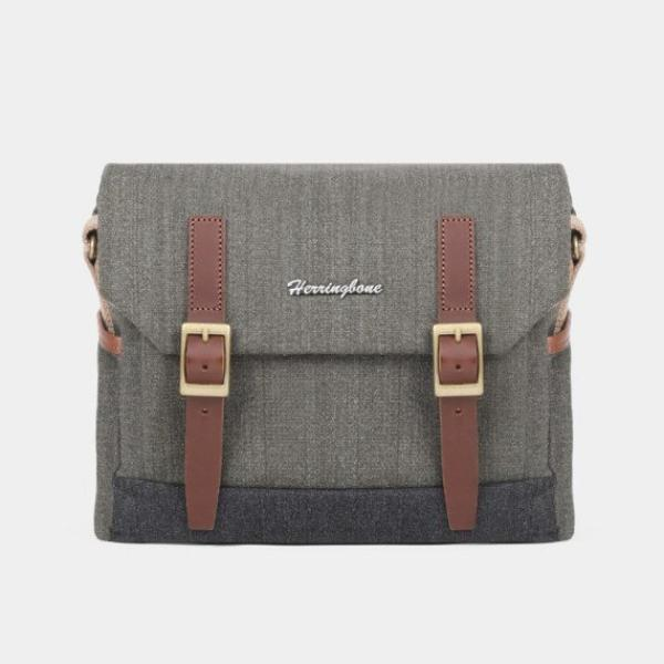 Herringbone Postman Messenger Camera Bag - Small Olive