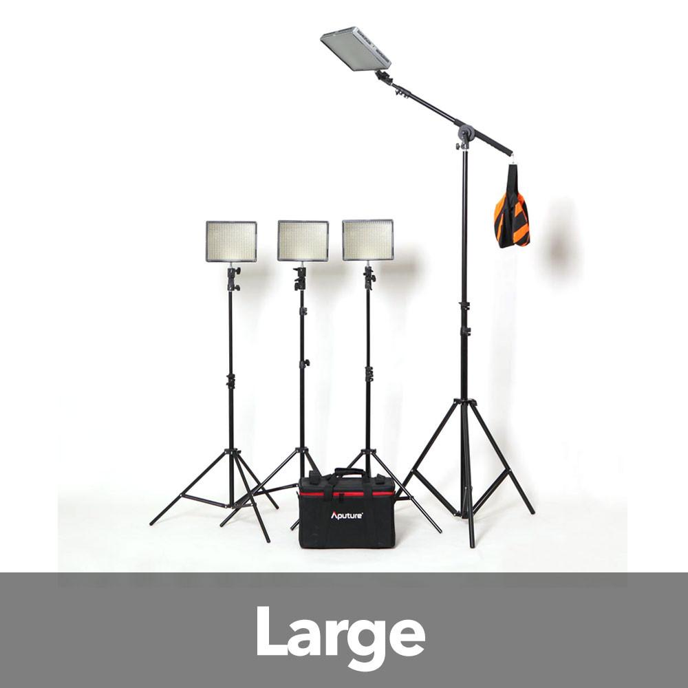 Aputure 4x HR672W LED Video Continuous Portable Lighting Kit and Boom (From 7680 lumens at 1m) exclude