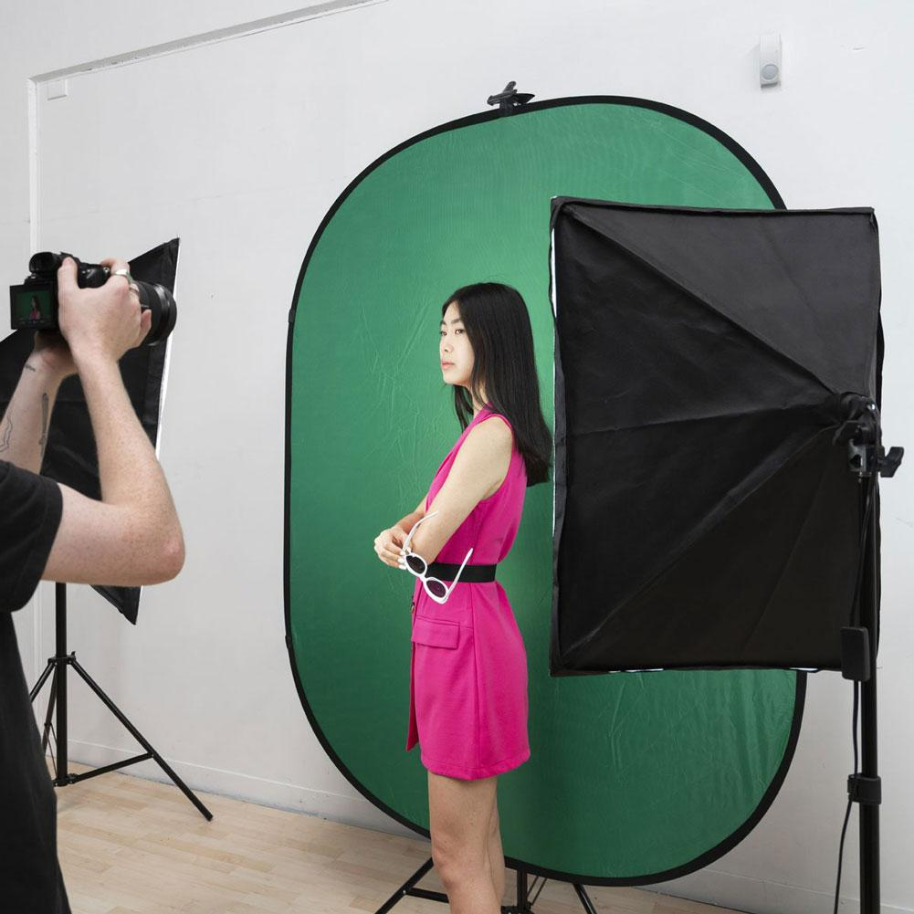 Large Chroma Key Green/Blue Double Sided Pop Up Backdrop with Stand and Peg Kit (1.5 x 2.1M)