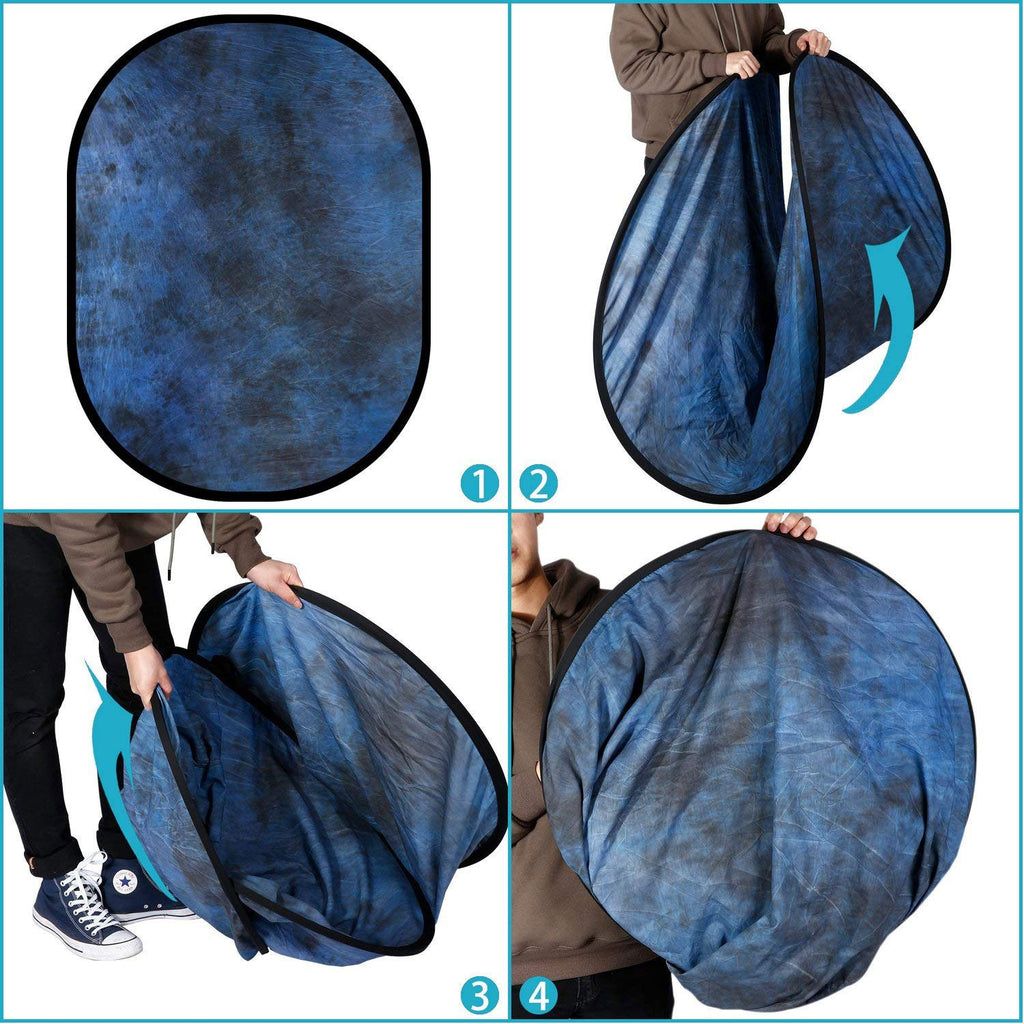 Hypop Mottled Blue / Black Double Sided Collapsible Pop Up Backdrop (1.5x2M)