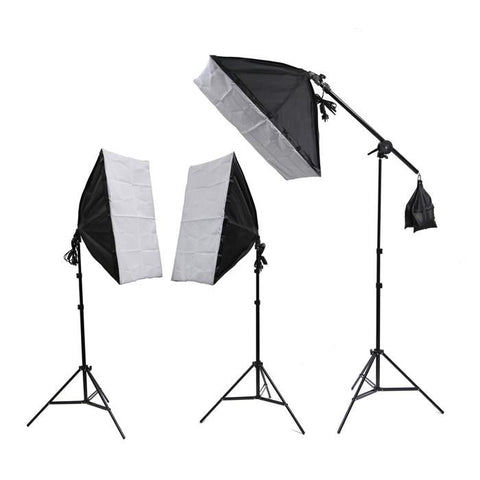 Hypop Triple Rectangle Softbox Boom Arm 3 Point Lighting Kit exclude