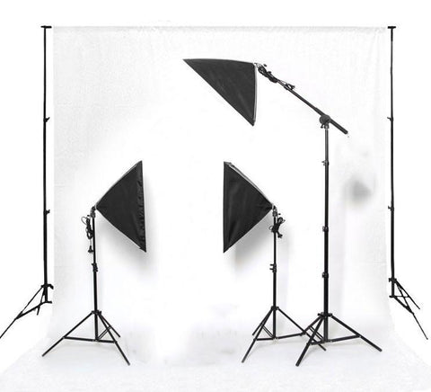 Hypop Triple Rectangle Softbox Boom Arm Kit (Includes: Backdrop Stand & Muslin) exclude
