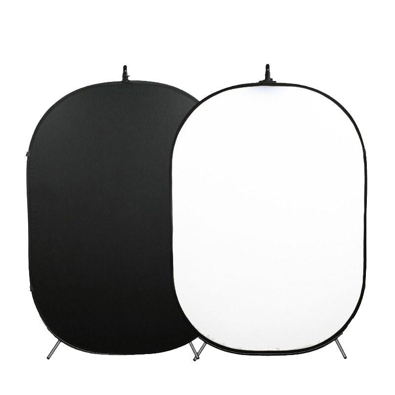 Hypop Large White / Black Double Sided Pop Up Backdrop with Stand and Peg Kit (1.5 x 2.1M)
