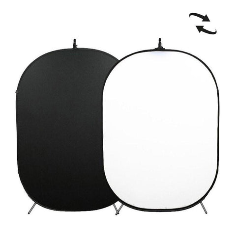 White / Black Double Sided Pop Up Backdrop with Stand and Peg Kit (1.5 x 2.1M)