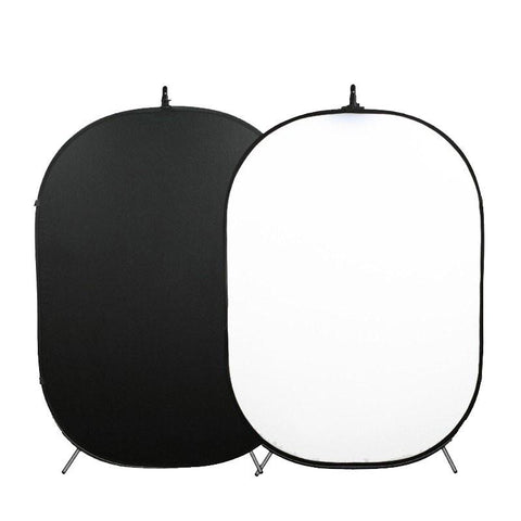 Hypop Large White / Black Double Sided Pop Up Backdrop with Stand and Peg Kit (1.5 x 2.1M) exclude