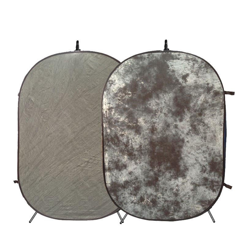 Mottle Grey / Stone Grey Double Sided Pop Up Backdrop (1.5 x 2.1M) with Stand
