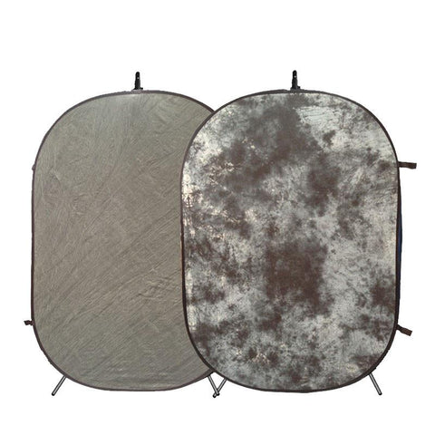Hypop Large Mottle Grey / Stone Grey Double Sided Pop Up Backdrop (1.5 x 2.1M) with Stand