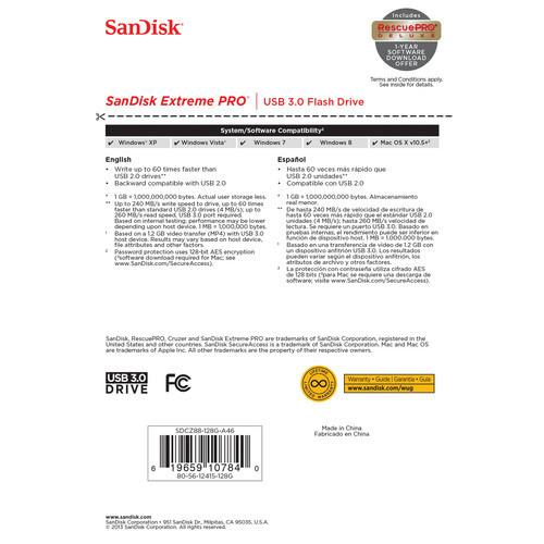 SanDisk Extreme®Pro USB 3.0 240MB/s 128GB