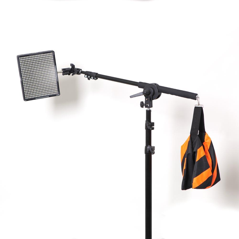 Aputure 3 x AL-528 LED Video Continuous Portable 3 Point Lighting Kit With Boom