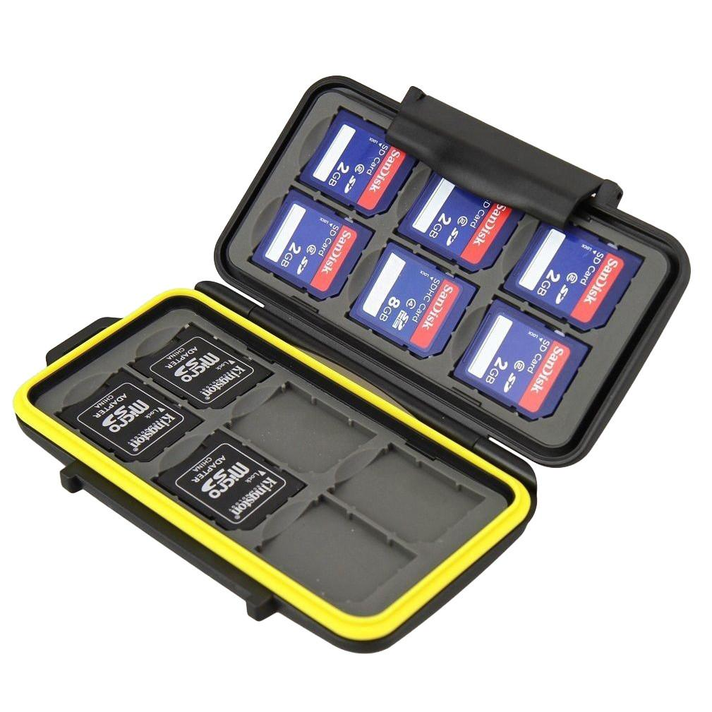 JJC MC-SD12 Water Resistant Heavy Duty Shock Proof Memory Card Storage Case for 12 SD Cards exclude