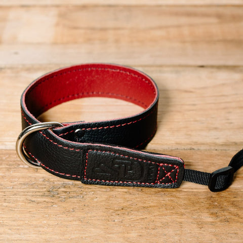 Lucky Straps Leather Camera Wrist Strap - Black/Wine