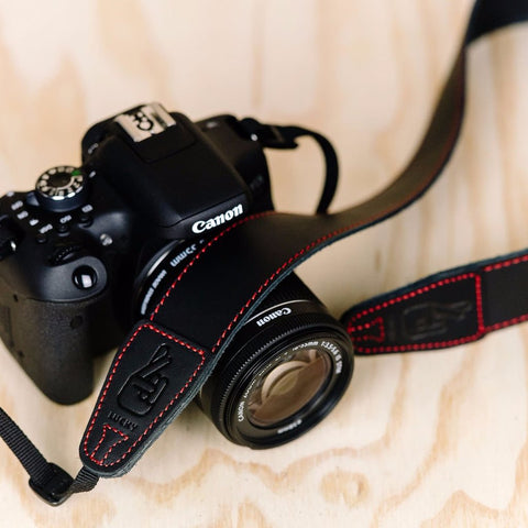 Lucky Straps Simple 40 Leather Camera Strap - Black with Red Stitching