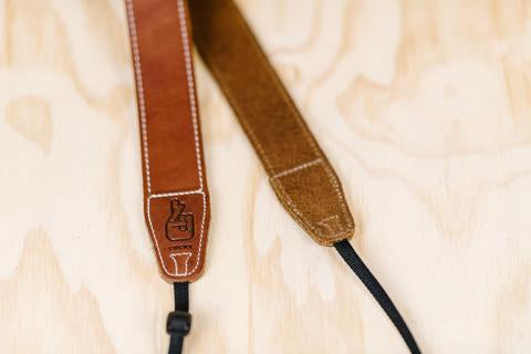 Lucky Straps Simple 40 Leather Camera Strap - Natural Brown with White Stitching