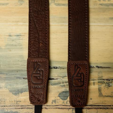 Lucky Straps Slim 30 Classic Leather Camera Strap - Dark Brown Relic