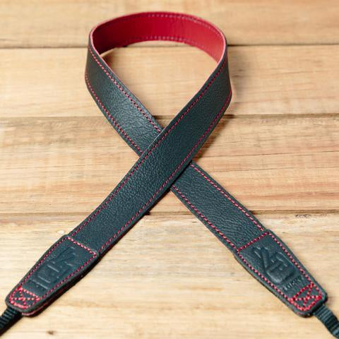 Lucky Straps Slim 30 Leather Camera Strap - CONTRAST Black/Wine