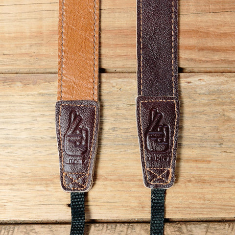Lucky Straps Slim 30 Retro Leather Camera Strap - Caramel/Dark Brown