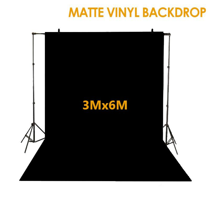 Hypop Black Synthetic Poly Vinyl Roll Backdrop (3M x 6M)