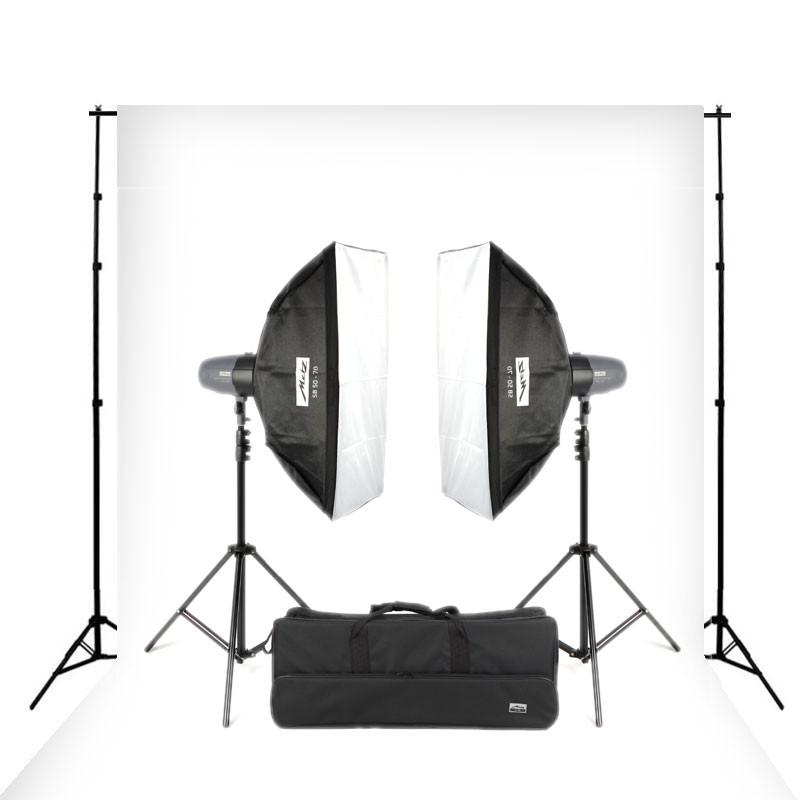 Metz Mecastudio BL-400 Twin Head Kit with Paper Backdrop and Stand