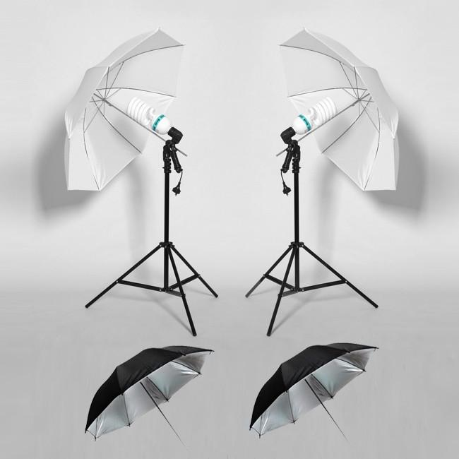Hypop Standard 250W Double Umbrella Continuous Lighting Kit with 4 Umbrellas