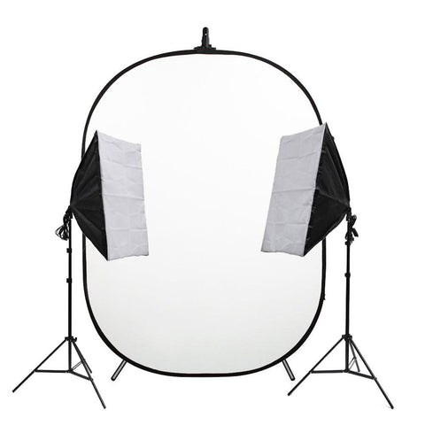 Portable 'Headshot Kit' with Double Illuminate Mate Softbox and Pop Up Backdrop