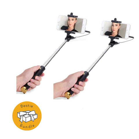 Gold Extendable 2x Selfie Stick (Android ios iPhone 6/6s 7 plus) - Bestie Bundle