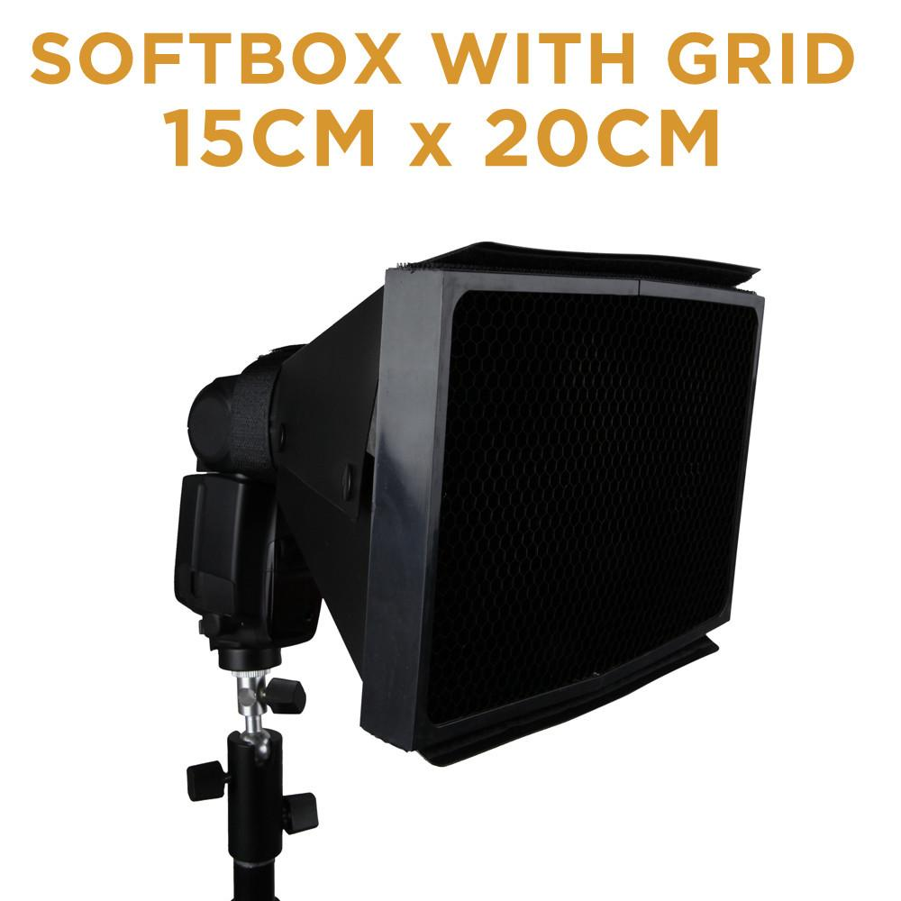 Hypop Rectangular Softbox with 50 Degree Honeycomb Grid for Speedlite Flash(15x20cm)