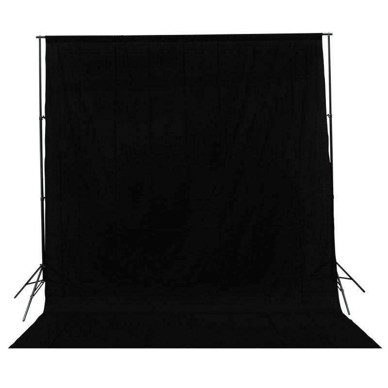 Hypop Solid Black 3M x 3M Cotton Muslin Background