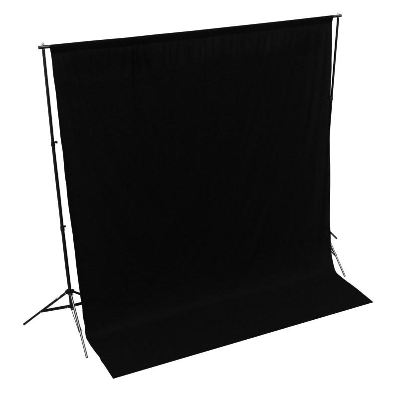 WI: 1 x Solid Black 3M x 3M Cotton Muslin Backdrop