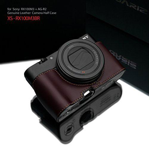 Gariz Sony RX100 MK3 / MK4 Brown Leather Camera Half Case XS-RX100M3BR (Grip Version) exclude