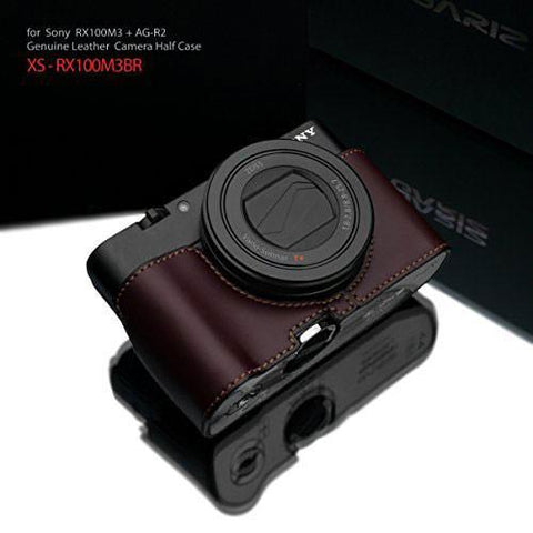 Gariz Sony RX100 MK3 / MK4 / MK5 Brown Leather Camera Half Case XS-RX100M3BR (Grip Version)