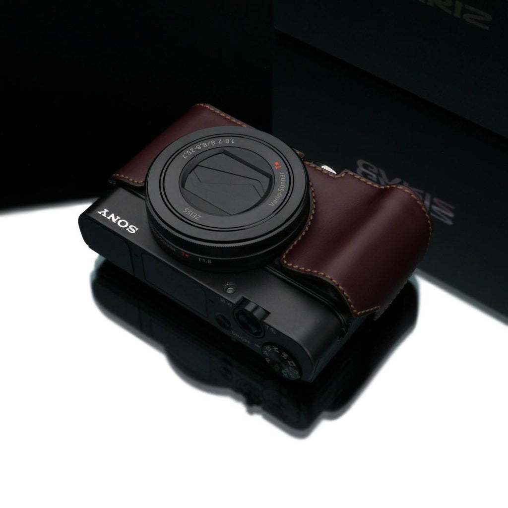 Gariz Sony RX100 MK3 / MK4 Brown Leather Camera Half Case XS-RX100M3BR (Grip Version)