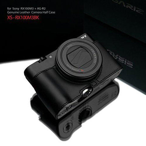 Gariz Sony RX100 MK3 / MK4 / MK5 Black Leather Camera Half Case XS-CHRX100M3BK (Grip Version)