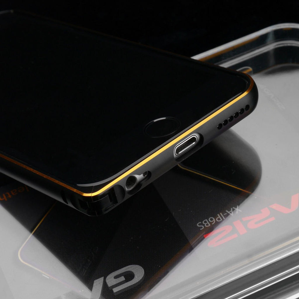 Gariz XA-IP6BS Metal Bumper Case Leather Skin for iPhone 6 6S Black Gold Trim