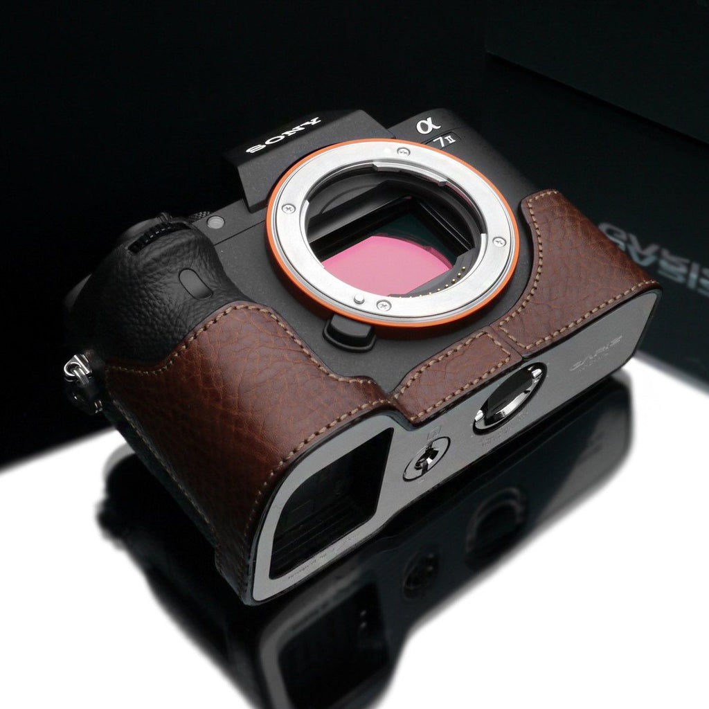 Gariz Brown Leather Camera Half Case XS-CHA7IIBR for Sony Alpha A7II A7RII Mark II exclude