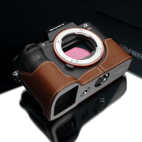 Gariz Camel Brown Leather Camera Half Case XS-CHA7IICM for Sony Alpha A7II A7RII Mark II