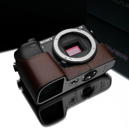 DISCONTINUED CASE - Gariz Brown Leather Camera Half Case XS-CHA6000BR for Sony A6000