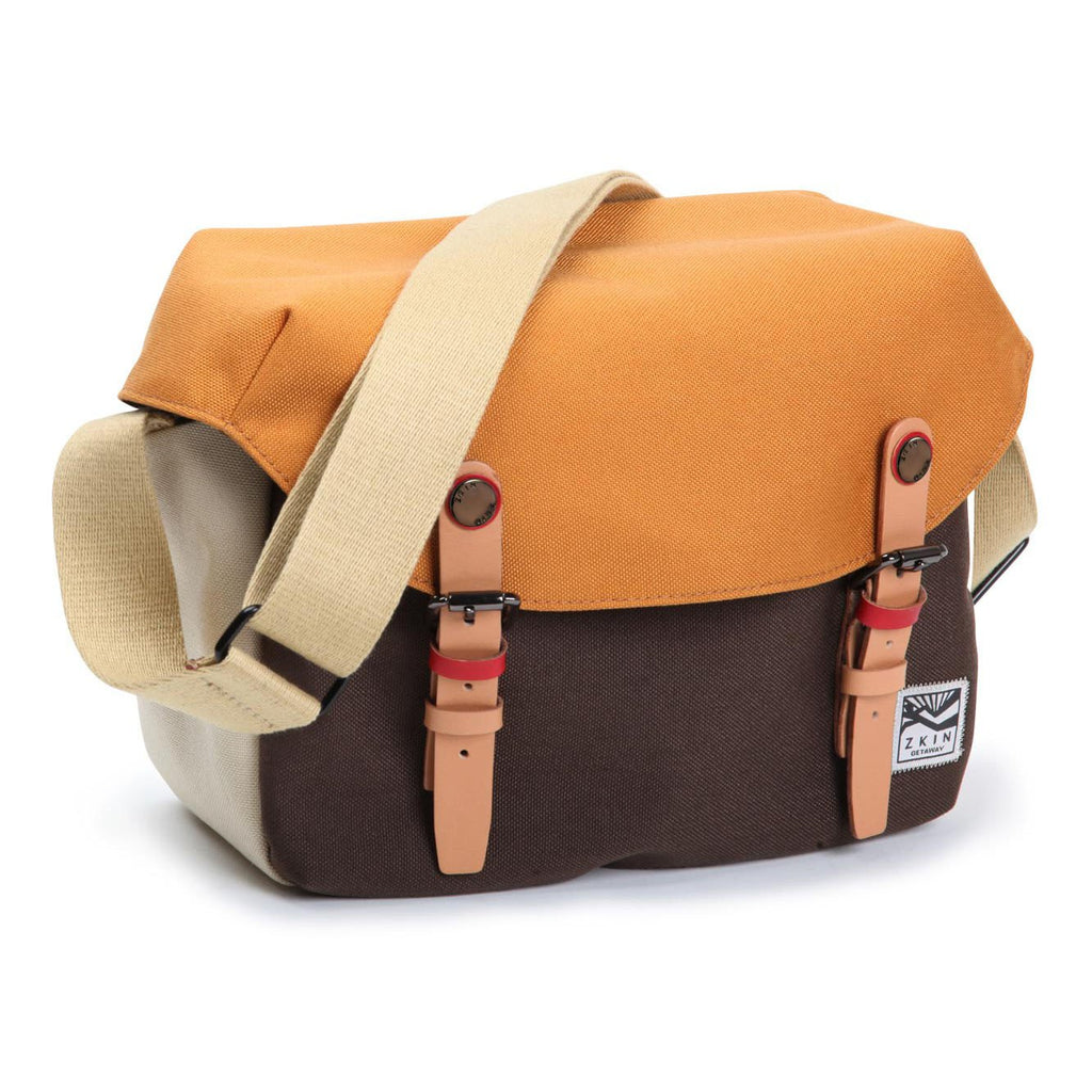 Zkin Getaway Cetus Orange Brown DSLR Camera Satchel Should Bag