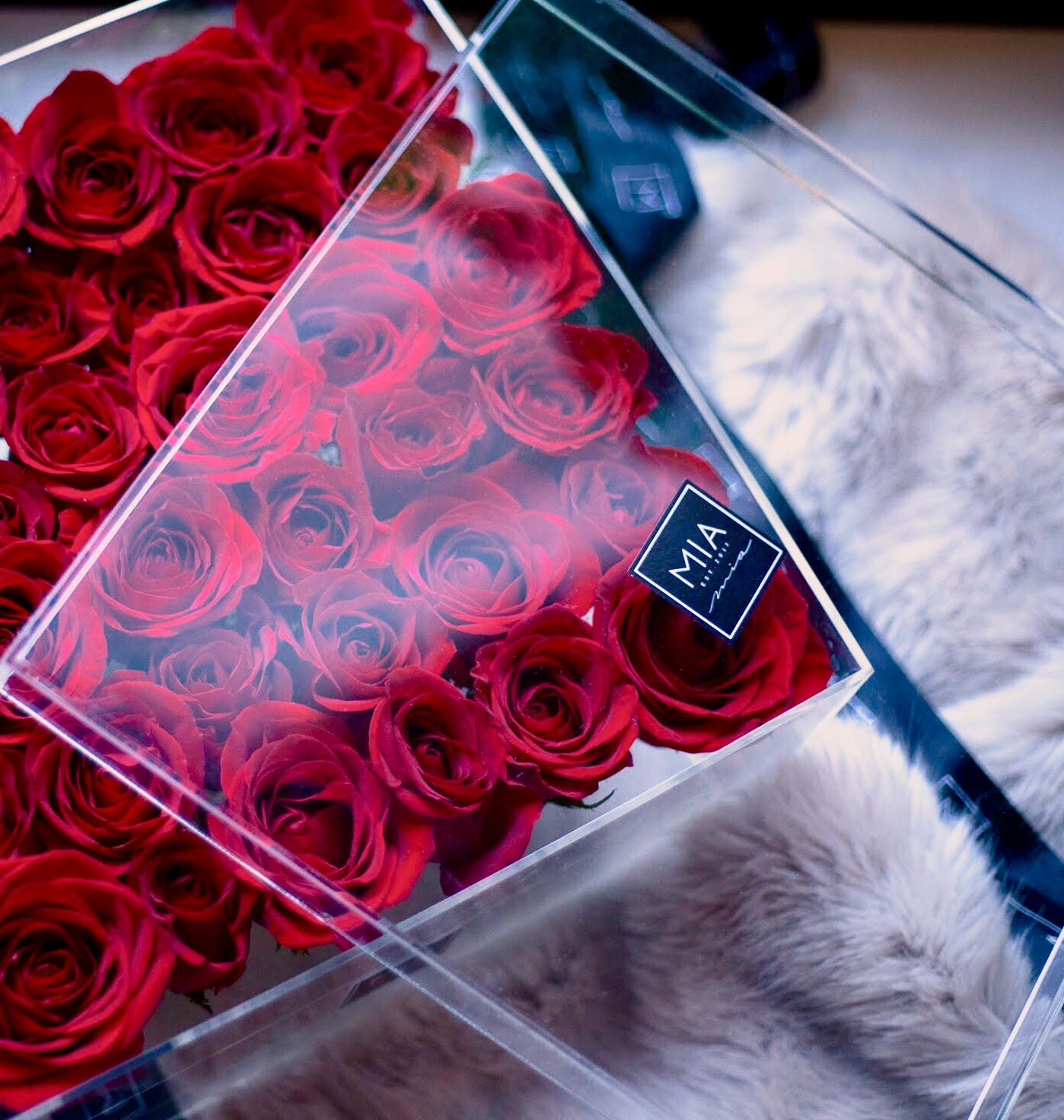acrylic clear luxury red rose box toronto