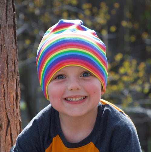 Little Kid Bright Stripes Rainbow Hat