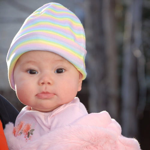 Infant Light Stripes Rainbow Hat