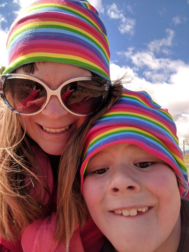 Big Kids Bright Stripes Rainbow Hat