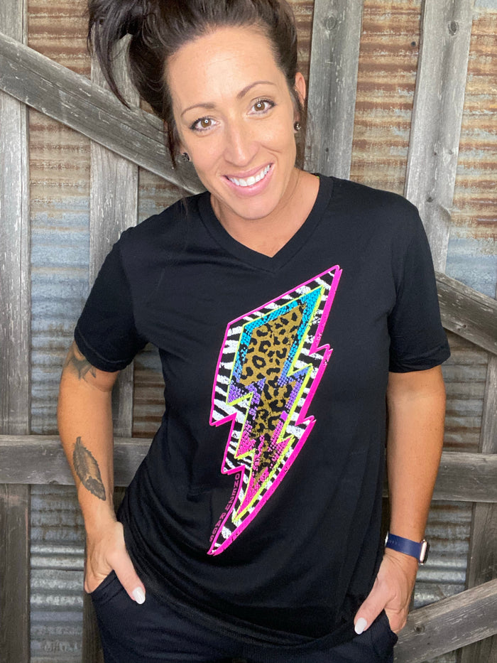 Neon Bolt leopard v-neck