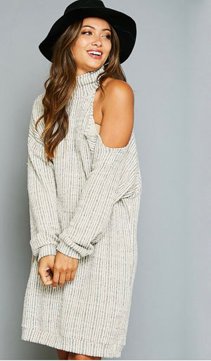 Mock neck one shoulder knit dress